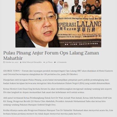 Baik Dapigs Anjur Forum Dosa Dosa Mahathir