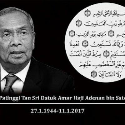 Belasungkawa Untuk Ketua Menteri Sarawak Ts Adena Satem