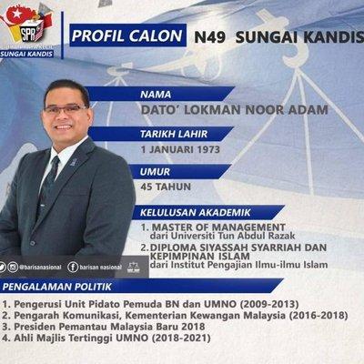 Biodata Ringkas Dato Lokman Noor Adam Calon Barisan Nasional Bagi Dun Sungai Kandis