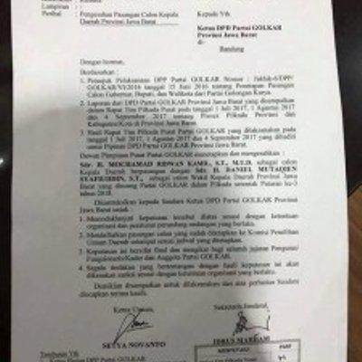 Buntut Surat Bodong Dukung Emil Dpp Golkar Dituding Politik Transaksional