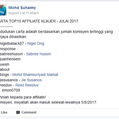 Carta Top 10 Affiliate Klikjer Julai 2017
