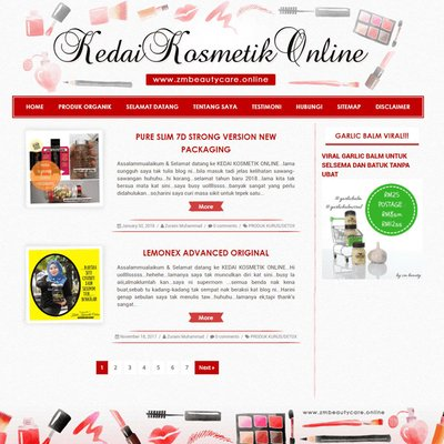 Edit Template Dan Design Header Blog Kedai Kosmetik Zmbeautycare