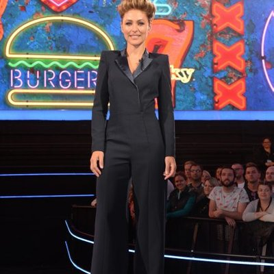 Emma Willis Celebrity Big Brother 2018 Outfit Cbb Host Displays Sensational Figure In Sleek Tailored Jumpsuit