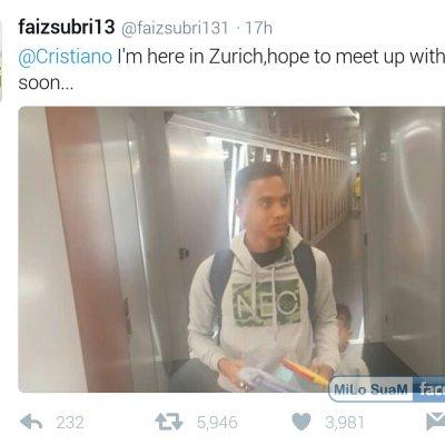 Faiz Subri Berjaya Selfie Dengan Bintang Bola Sepak Cristiano Ronaldo