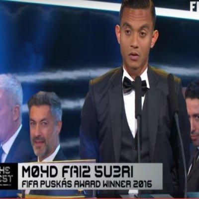 Faiz Subri Menang Anugerah Puskas Fifa Sebagai Jaringan Gol Tercantik 2016