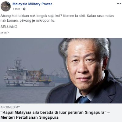 Harap Respon Menteri Pertahanan Malaysia