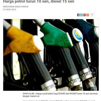 Harga Runcit Petrol Diesel Turun