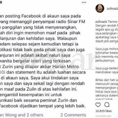 Hentikan Tohmahan Saya Maafkan Dia Zulin Aziz