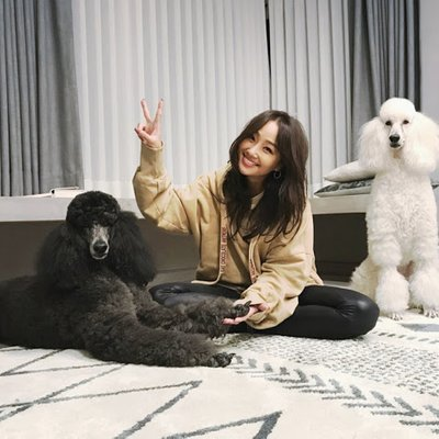Hyolyn Spends Some Quality Time With Two Poodles