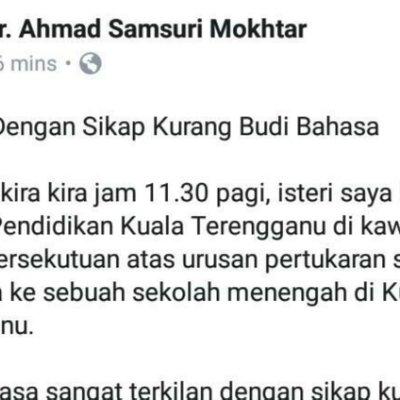 Isteri Mb Terengganu Dilayan Kasar