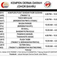 Jadual Kempen Menderma Darah Hsa Johor Bahru Bagi Bulan Julai 2015