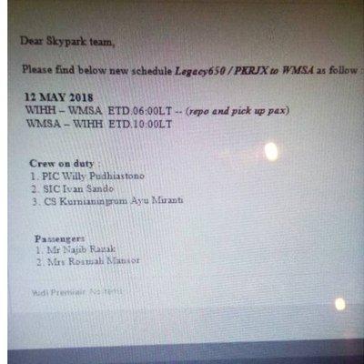 Jadual Penerbangan Najib Rosmah Tular