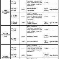 Jadual Waktu Pentaksiran Tingkatan 3 2015