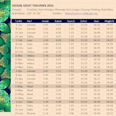 Waktu Solat Selangor Hulu Langat Umpama M