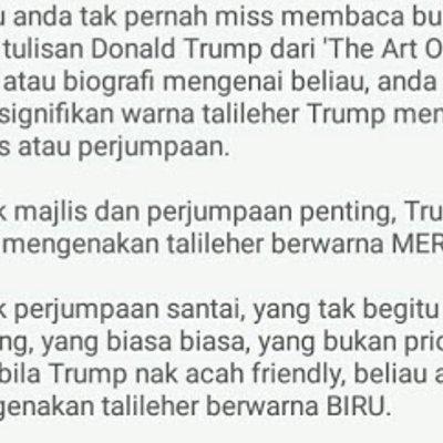 Jumpa Najib Trump Pakai Tali Leher Biru Bukan Merah