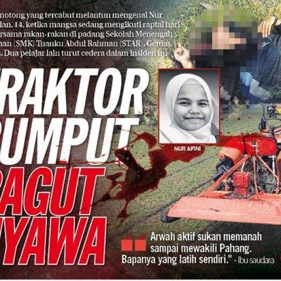 Kes Pelajar Sekolah Maut Terkena Bilah Mesin Potong Rumput Pemandu Traktor Bakal Dituduh