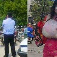 Lelaki Aneh Menyamar Jadi Wanita Berpayudar Terlalu Besar