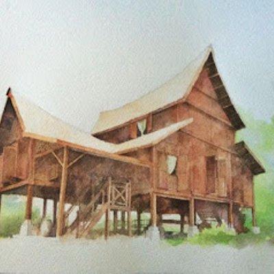 Rumah Kampung Lukisan Gambar