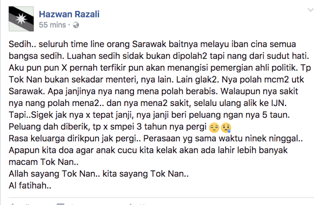 Macam Ni Rupanya Rasa Bila Pemimpin Kesayangan Pergi Rakyat Sarawak Ratapi Pemergian Adenan Satem