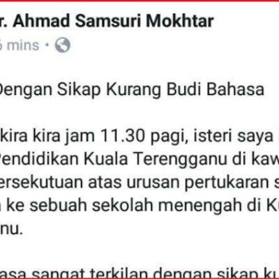 Mb Terengganu Mengadu Isterinya Dilayan Kasar Semasa Urusan Pertukaran Sekolah Anak