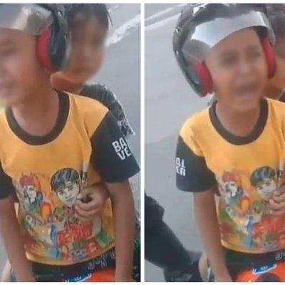 Mengendarai Sepeda Motor Mini Di Jalan Raya Anak Tk Ini Menangis Histeris Di Depan Polisi