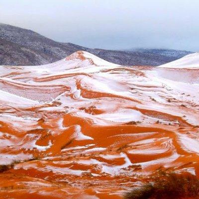 Merah Gunung Sahara Bertukar Keputihan Selepas Salji Turun Buat Pertama Kali Selepas 37 Tahun