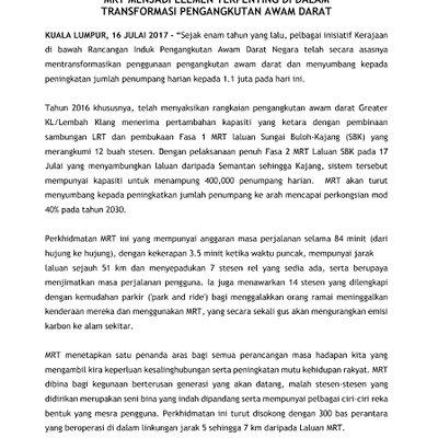 Pelancaran Mrt Sg Buloh Kajang Terlaksana Nya Janji Transformasi Pengangkutan Awam