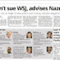 Pelik Nazri Aziz Minta Najib Abdul Razak Agar Tidak Saman Wall Street Journal