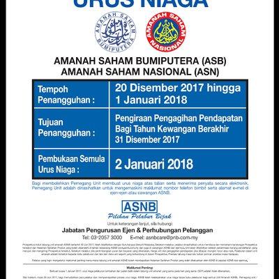 Penangguhan Urus Niaga Asb Asn Mulai 20 Disember 2017 01 Januari 2018