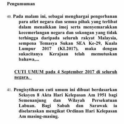 Pm Malaysia Umum Cuti Peristiwa Pada 4 September Selepas Menjuarai Sukan Sea 2017