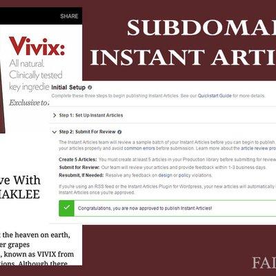 Projek Subdomain Lulus Instant Article