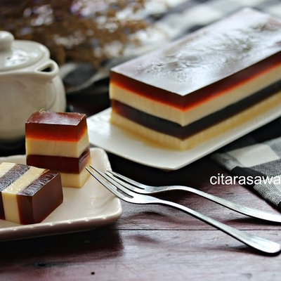 Puding Kopi Berlapis Keju Coffee Cheese Pudding