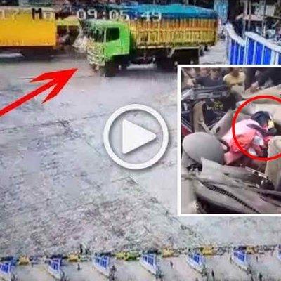 Rakaman Detik Detik Kemalangan Maut Lori Mengundur Laju Ke Belakang Orang Ramai Bertempiaran Lari