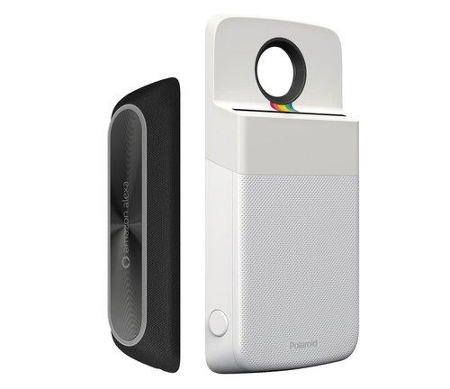 Rekaan Moto Mods Pembesar Suara Amazon Alexa Dan Pencetak Gambar Polaroid Tertiris