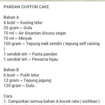 Resipi Pandan Chiffon Cake