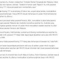Serpihan Pesawat Itu Hampir Pasti Milik Mh370