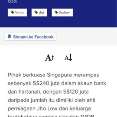 Singapura Kini Kian Hampir Kepada Jho Low