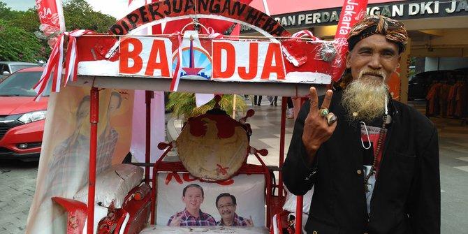 Sukirman Tarik Becak Dari Surabaya Ke Jakarta Demi Dukung Ahok