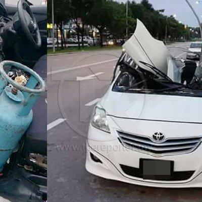 Tak Sedar Tong Gas Bocor Kereta Meletup Ketika Nyala Pemetik Api Untuk Merokok