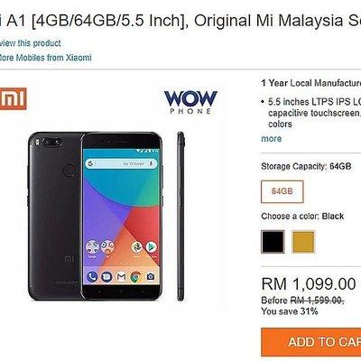 Tempah Xiaomi Mi A1 Segera Dan Mula Gunakannya Minggu Depan
