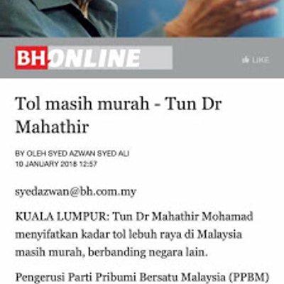 Tol Masih Murah Tanda Mahathir Tak Mahu Mansuhkan Tol