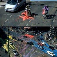 Tumpahan Cat Di Jalan Raya Malah Jadi Nilai Seni