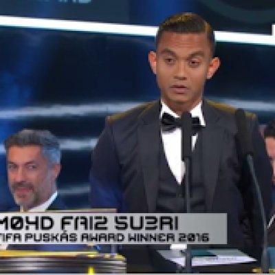 Video Faiz Subri Dinobatkan Pemenang Anugerah Puskas Fifa 2016