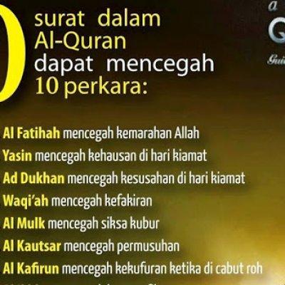 Wajib Baca 10 Surah Dalam Al Quran Yang Boleh Mencegah 10 Perkara