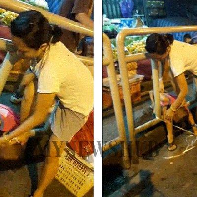 Wanita Kejam Ikat Anak Tepi Jalan Diburu Polis