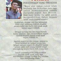 Wasiat Terakhir Tun Mustapha Untuk Orang Sabah