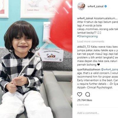 Wawa Zainal Khuatir Anak Sulung Belum Pandai Bercakap